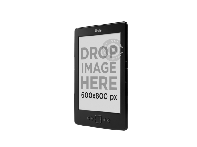 Angled Amazon Kindle Mockup Over a PNG Background a11812 print