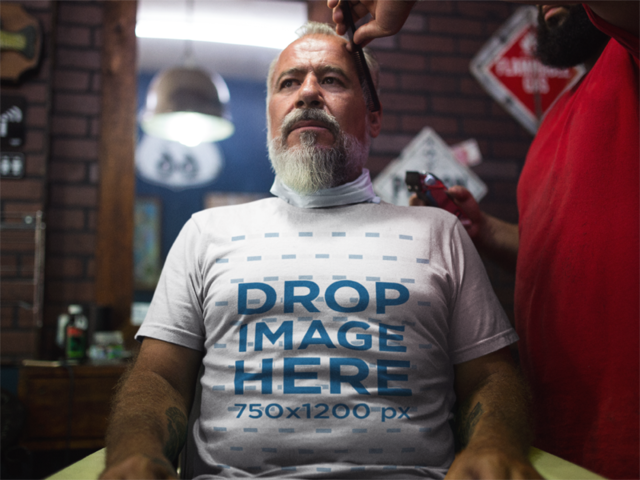 T-Shirt Mockup of an Older Man at a Barbershop a12064