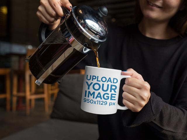 Mug Mockup of a Woman Pouring Herself Coffee a11938