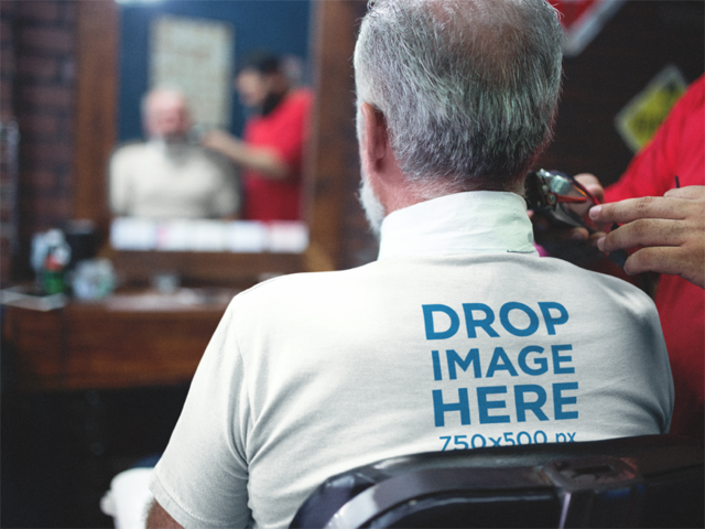 Senior Man at a Barbershop Backside Tee Mockup a12063