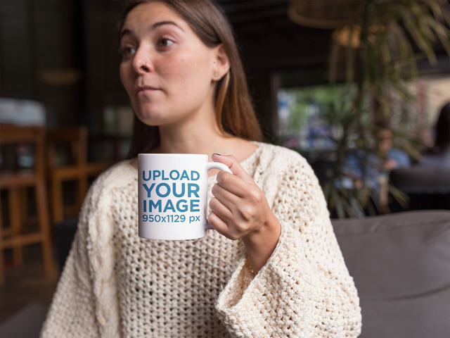 Coffee Cup Mockup Featuring a Woman Chatting with a Friend a11942