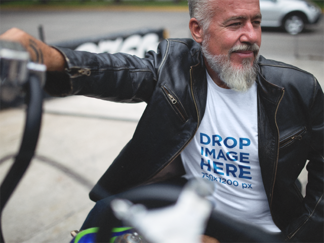 Hispanic Man on His Motorcycle T-Shirt Mockup a12058