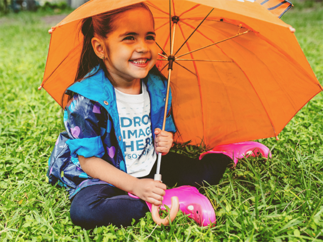 Kid's Round Neck Tee Mockup of a Little Girl with an Umbrella a12100