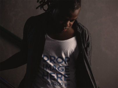 Sleeveless T-Shirt Mockup of a Young Black Man With Dreadlocks a12049