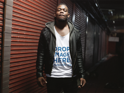Young Black Man Out at Night Wearing a Hoodie and Tank Top Mockup a12052