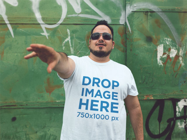 Cool Guy Wearing Sunglasses Plus Size T-Shirt Mockup a12129