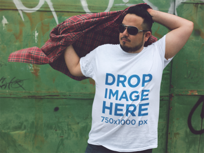 Plus Size Tee Mockup of a Young Man Wearing a Plaid Shirt a12130