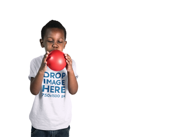 T-Shirt Mockup of a Little Boy Blowing Up a Balloon a12071