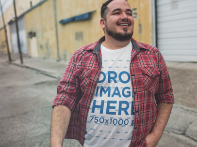 Plus Size T-Shirt Mockup Featuring a Hispanic Man with a Plaid Shirt a12133