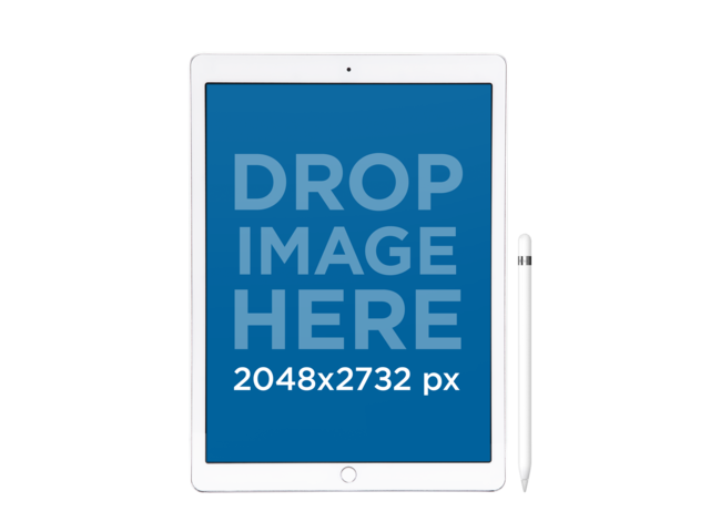 iPad Pro with Apple Pencil Mockup in Front View Over a Transparent Background a12175
