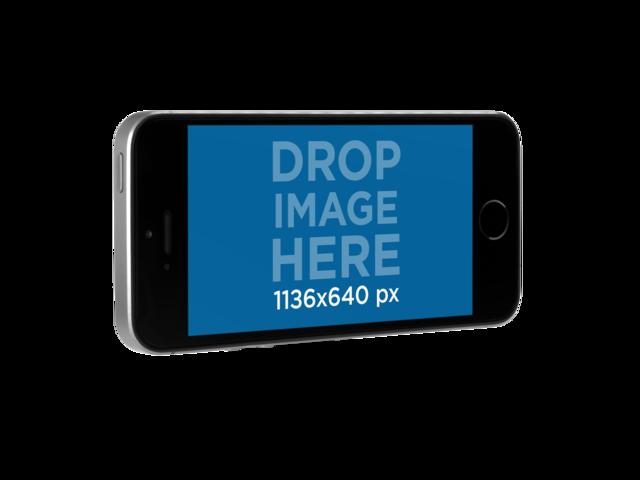 Black iPhone SE Mockup in Angled Landscape Position Over a Transparent Background a12162