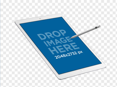 iPad Pro with Apple Pencil in Angled Portrait Position PNG Mockup a12178