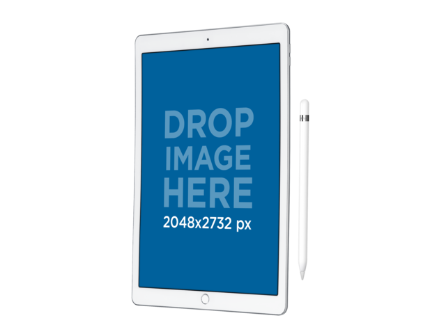 iPad Pro Mockup in Vertical Position Angled Over a PNG Background a12176