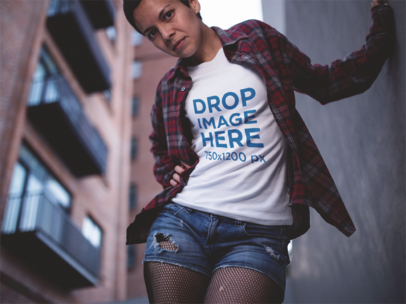 Round Neck T-Shirt Mockup of a Girl Wearing a Plaid Shirt and Shorts a12225