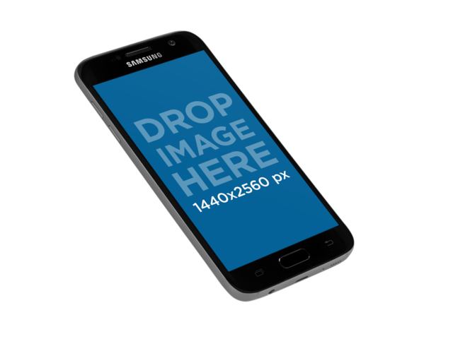 Samsung Galaxy Phone Mockup Floating in Angled Position Over a Transaparent Background a12182