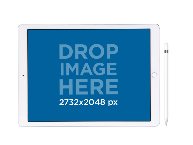 iPad Pro in Landscape Position Over a PNG Background Mockup a12174