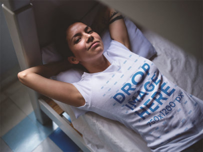 Round Neck Tee Mockup of a Cool Girl Lying in a Bed a12213