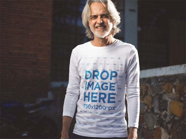 Long Sleeve Tee Mockup Featuring a Hip Older Man in the Street a12246
