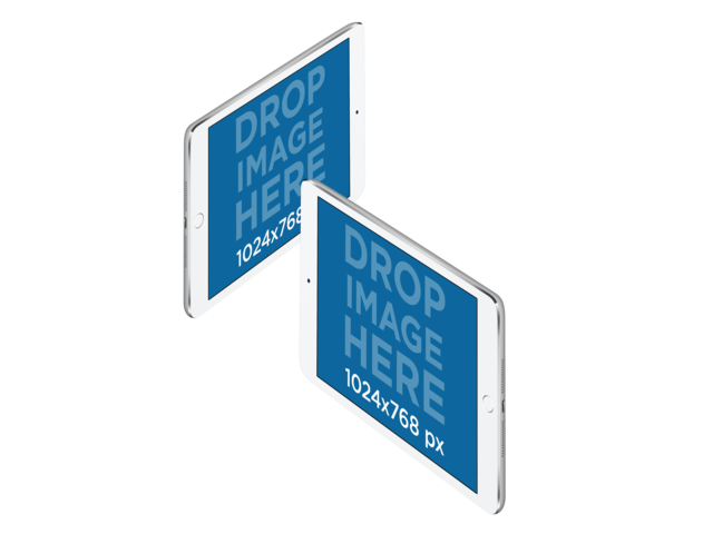 iPad Minis in Angled Landscape Position PNG Mockup a11915