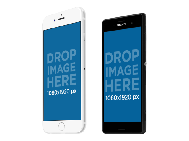 iphone 6 and android phone set mockup in portrait position a11871 - Mockups For Android