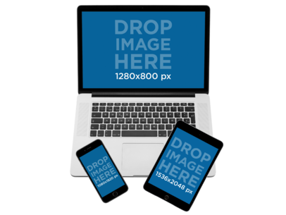 Mockup of a MacBook Pro with iPad Mini and iPhone Set Over a PNG Background a11900