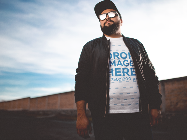 T-Shirt Mockup of a Cool Plus Size Guy Wearing Sunglasses a12282a