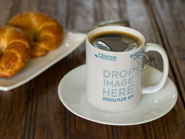 Coffee Mug Mockup with Croissants a12274