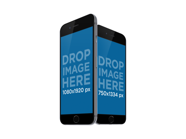 iPhone and iPhone Plus in Angled Portrait Position PNG Mockup a11922