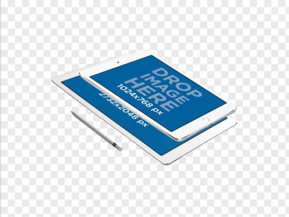 White iPad Pro and iPad Mini Floating in Landscape Position PNG Mockup a11885