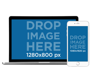 MacBook Pro PNG Mockup with a White iPhone 6 in Front View a11923