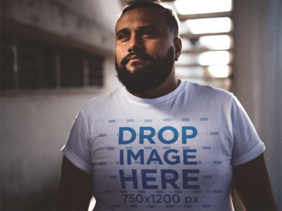 Plus Size Tee Mockup of a Young Man with a Beard a12290