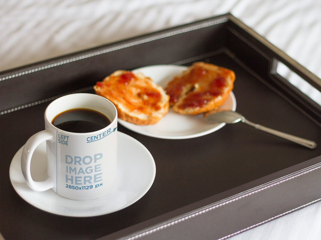 Coffee Cup Mockup With Breakfast In Bed