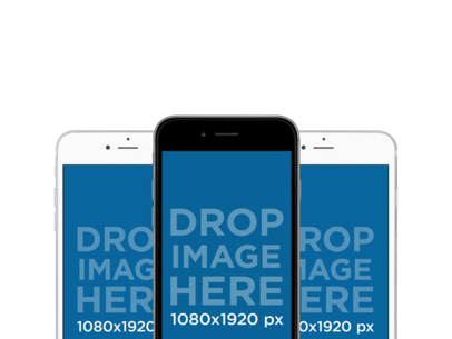 Three iPhones in Portrait Position Responsive PNG Mockup a11925