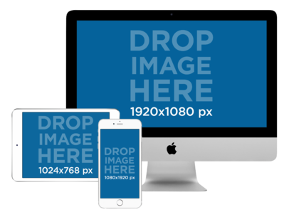 Responsive Mockup of an iMac with a White iPad and iPhone a11896