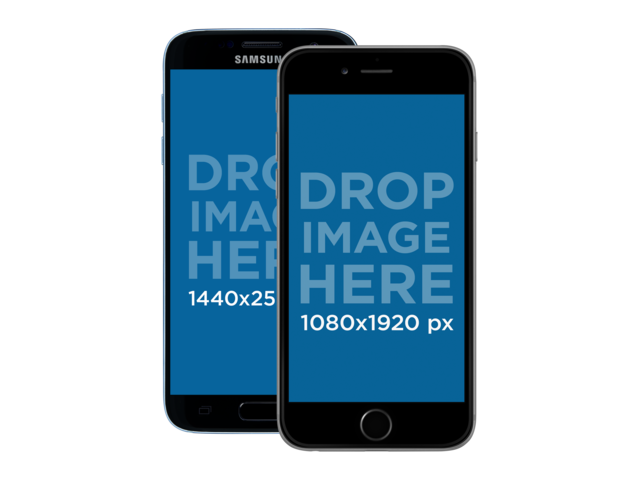 Samsung Galaxy and iPhone 6 Front View Mockup Over a PNG Background a11911
