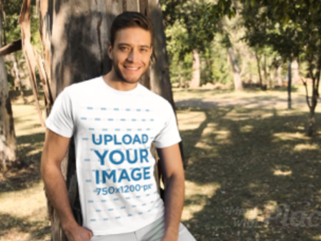 T-Shirt Video of a Smiling Man in the Woods 32732