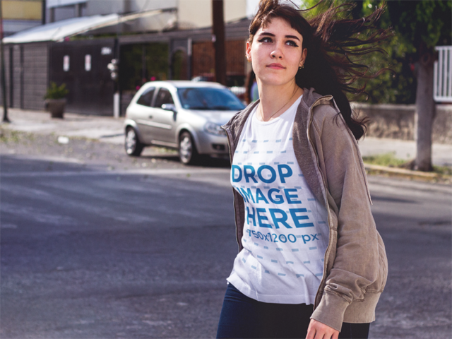 Plus Size Tee Mockup of a Cool Girl Out on the Street a9252