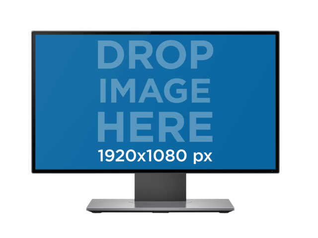 Single Desktop Mockup in Front View Over a PNG Background a12335