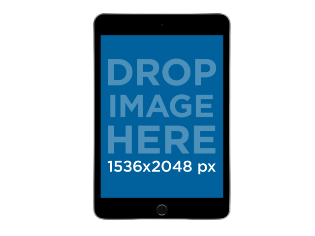 Black iPad Mini in Frontal View PNG Mockup a11934