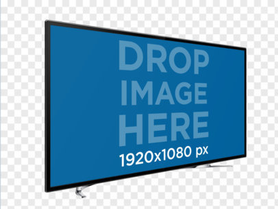 Angled Smart TV Mockup Over a PNG Background a11961