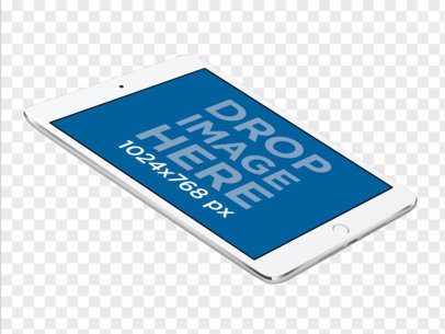 White iPad Mini in Landscape Position Floating Over a PNG Background a12333