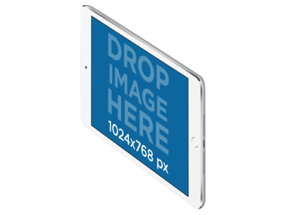 White iPad Mini in Angled Landscape View Over a PNG Background a11939