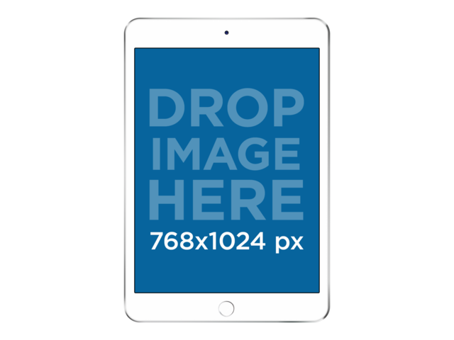 White iPad Mini in Frontal View Over a PNG Background a11954