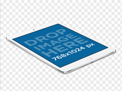 iPad Mini Portrait Mockup Lying Angled on a Surface a11957