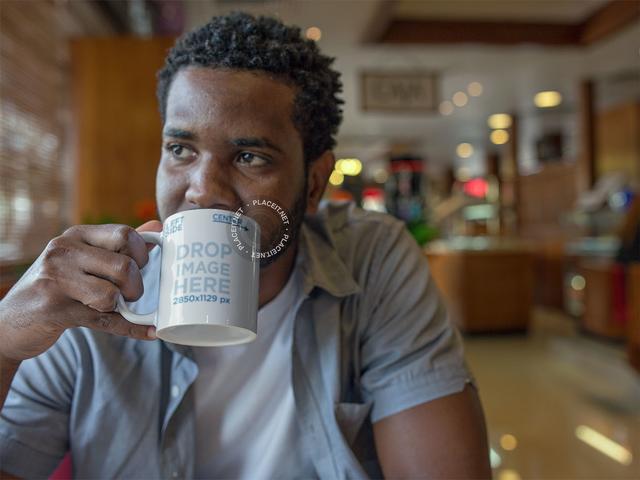 Man Drinking Coffee at a Diner Mug Mockup a12322