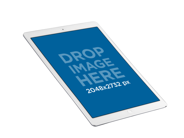 White iPad Pro Mockup with Apple Pencil Over a PNG Background a12334