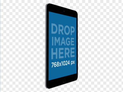Black iPad in Angled Portrait Position Over a PNG Background Mockup a11933