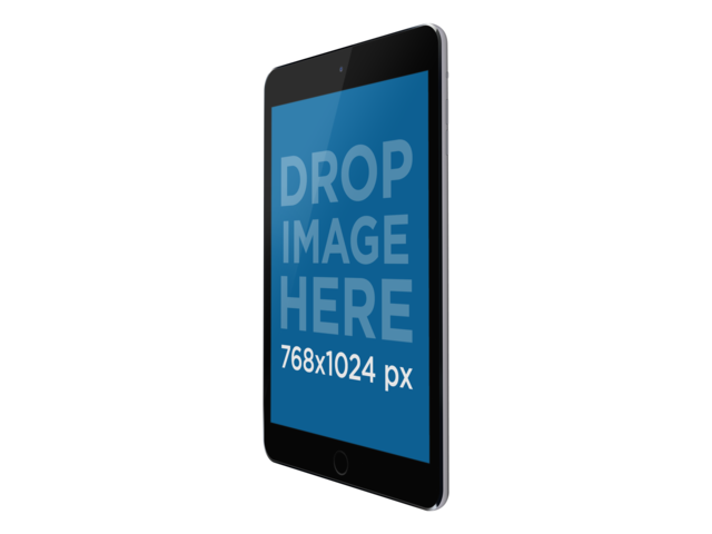Black iPad Mini in Angled Portrait Position PNG Mockup a11932