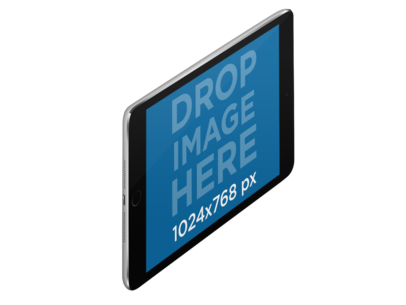 iPad Mini Mockup in Angled Landscape View Over a PNG Background a12332