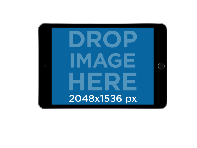 Black iPad Mini in Landscape Frontal View Mockup a11931
